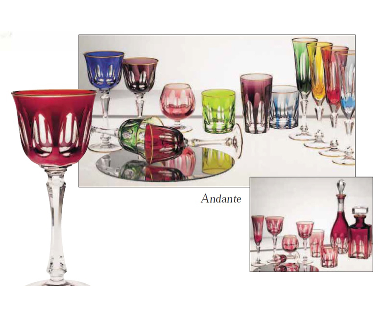 Коллекции бокалов из цветного хрусталя на 6 персон Анданте