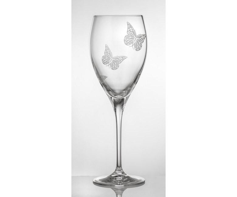 Набор хрустальных бокалов для воды на 6 персон Бабочки
