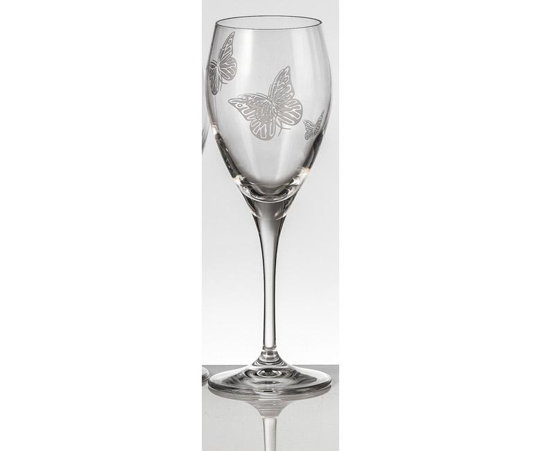 Набор хрустальных бокалов для красного вина на 6 персон Бабочки