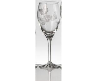Набор хрустальных бокалов для белого вина на 6 персон Бабочки