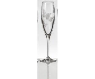 Набор хрустальных бокалов для шампанского на 6 персон Бабочки