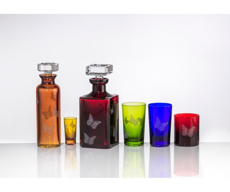 """Коллекции бокалов из цветного хрусталя на 6 персон """"Бабочки"""""""