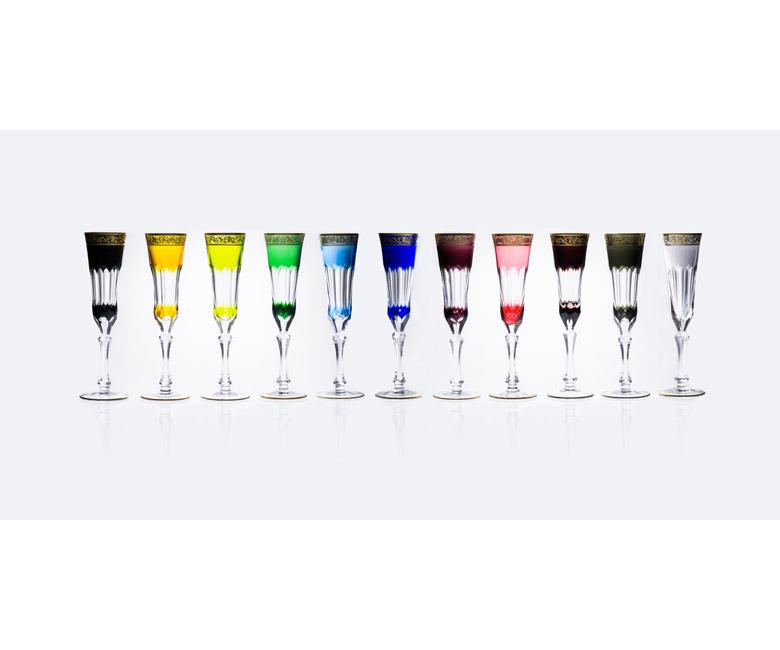 Коллекции бокалов из цветного хрусталя на 6 персон Шенонсо