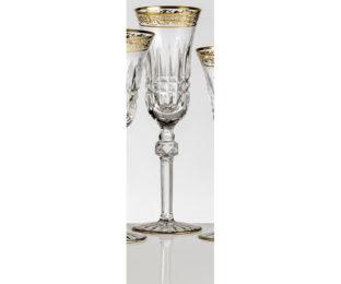 Набор хрустальных бокалов для шампанского на 6 персон Viktoria, инкрустация Золото|Платина