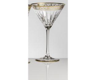 Набор хрустальных бокалов для Мартини, коктейля на 6 персон Viktoria, инкрустация Золото|Платина