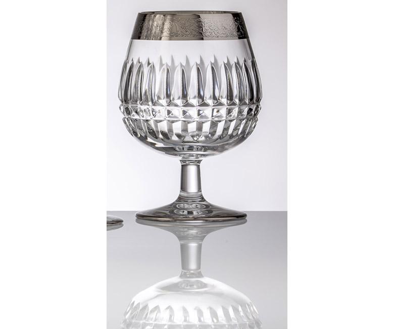 Набор хрустальных бокалов для бренди, коньяка на 6 персон Vladimir, инкрустация Золото|Платина