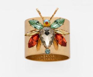 """Набор из двух металлических колец для салфеток с разноцветным декором  """"Радужный жук, топаз"""" Joanna Buchanan"""
