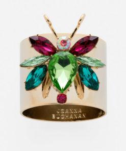 """Набор из двух металлических колец для салфеток с разноцветным декором  """"Радужный жук, изумруд"""" Joanna Buchanan"""