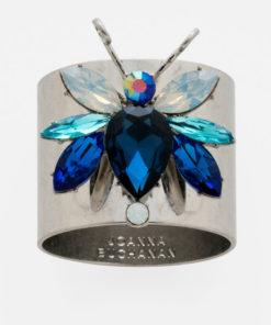 """Набор из двух металлических колец для салфеток с разноцветным декором  """"Радужный жук, сапфир"""" Joanna Buchanan"""