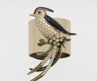 """Набор из двух металлических колец для салфеток с разноцветным декором  """"Птичка певчая"""" Joanna Buchanan"""