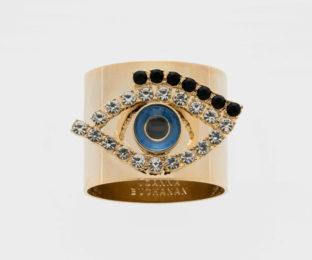 """Набор из двух металлических колец для салфеток с разноцветным декором  """"Глаз оберегающий"""" Joanna Buchanan"""