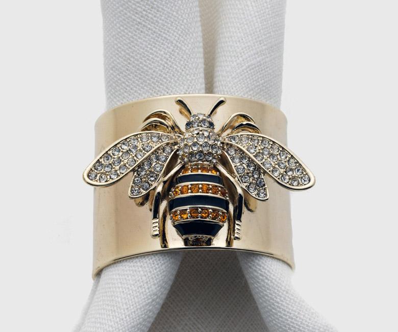 """Набор из двух металлических колец для салфеток с разноцветным декором  """"Пчелка"""" Joanna Buchanan"""