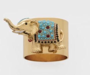 """Набор из двух металлических колец для салфеток с разноцветным декором  """"Радостный слон, цвет бирюза"""" Joanna Buchanan"""