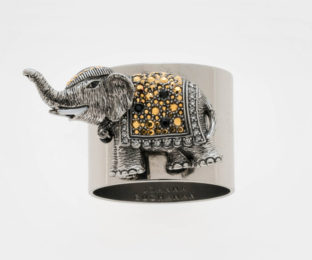 """Набор из двух металлических колец для салфеток с разноцветным декором  """"Радостный слон, цвет топаз"""" Joanna Buchanan"""