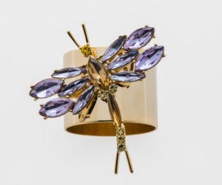 """Набор из двух металлических колец для салфеток с разноцветным декором  """"Стрекоза, цвет аметист"""" Joanna Buchanan"""