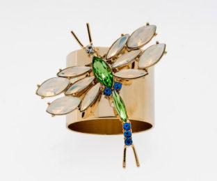 """Набор из двух металлических колец для салфеток с разноцветным декором  """"Стрекоза, цвет изумруд"""" Joanna Buchanan"""