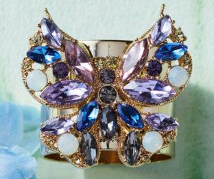 """Набор из двух металлических колец для салфеток с разноцветным декором  """"Бабочка, цвет аметист, сапфир"""" Joanna Buchanan"""