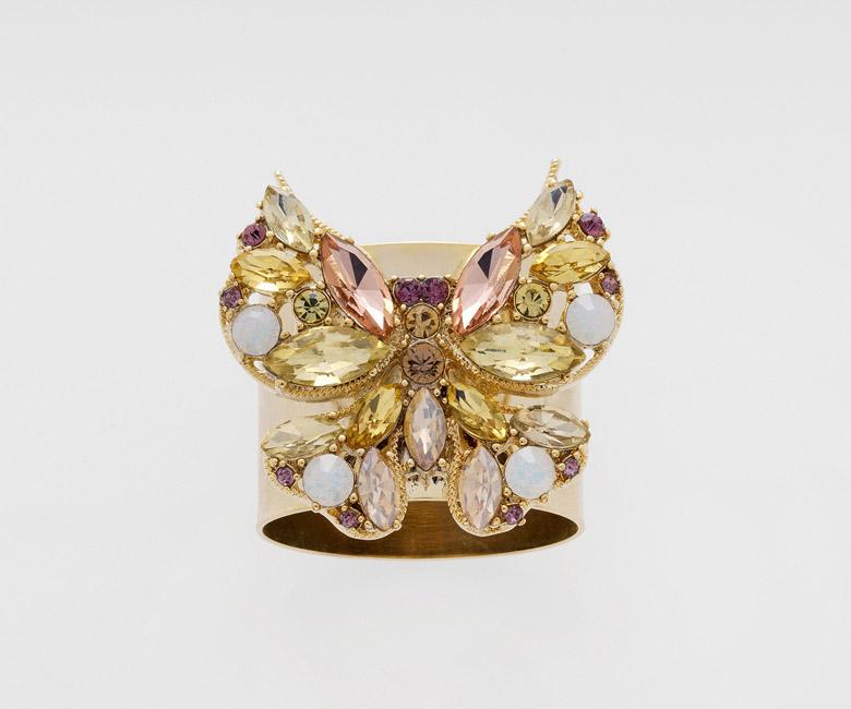 """Набор из двух металлических колец для салфеток с разноцветным декором  """"Бабочка, цвет топаз золотой"""" Joanna Buchanan"""