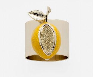"""Набор из двух металлических колец для салфеток с разноцветным декором  """"Золотой лимон"""" Joanna Buchanan"""