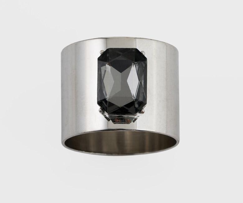 """Набор из двух металлических колец для салфеток с разноцветным декором  """"Драгоценный камень, цвет серебро, черный"""" Joanna Buchanan"""