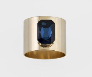 """Набор из двух металлических колец для салфеток с разноцветным декором  """"Драгоценный камень, цвет золото, сапфир"""" Joanna Buchanan"""
