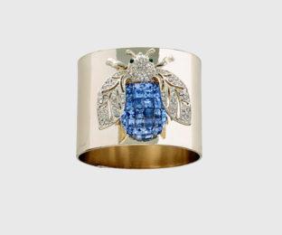 """Набор из двух металлических колец для салфеток с разноцветным декором  """"Золотой мотылек, цвет лазурный"""" Joanna Buchanan"""