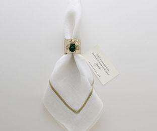 """Набор из двух металлических колец для салфеток с разноцветным декором  """"Золотой мотылек, цвет изумруд"""" Joanna Buchanan"""