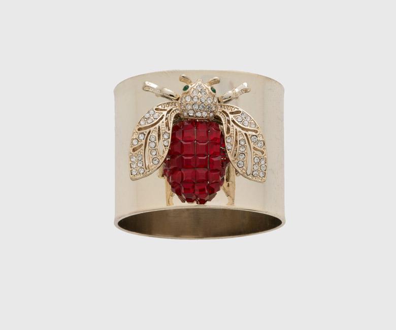"""Набор из двух металлических колец для салфеток с разноцветным декором  """"Золотой мотылек, цвет рубин"""" Joanna Buchanan"""
