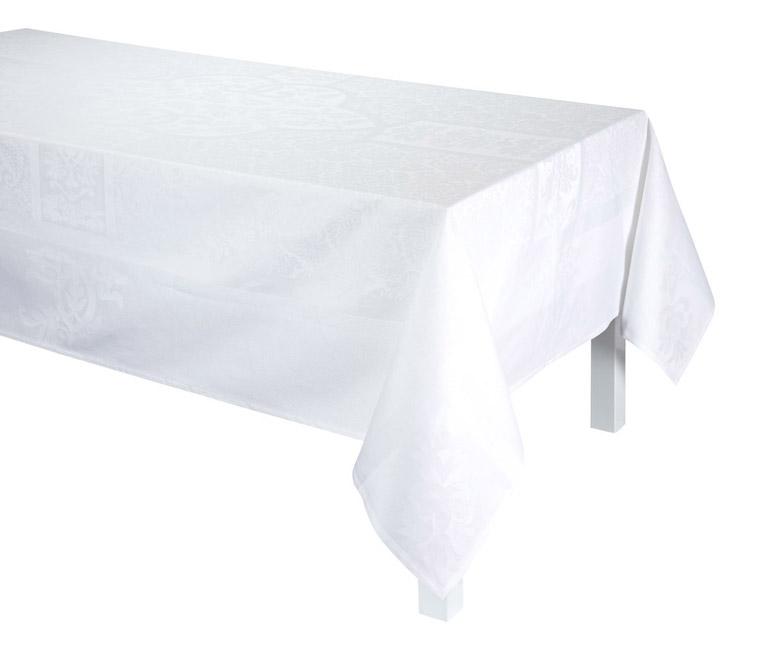 """Хлопковая белая прямоугольная скатерть из длинных волокон """"Siena Blanc"""" 175x250 см Le Jacquard Francais (Франция)"""