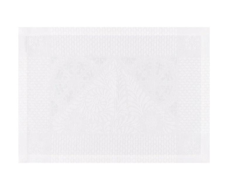 """Белые подстановочные салфетки (плейсматы) из длинных волокон хлопка и льна """"Bosphore Blanc"""" 54x38 см  Le Jacquard Francais (Франция)"""