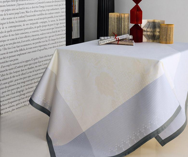 """Хлопковая прямоугольная скатерть цвета жемчуга из длинных волокон """"Palais Persan"""" 175x320 см Le Jacquard Francais (Франция)"""