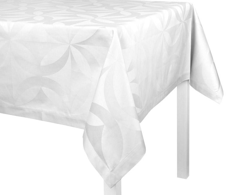"""Хлопковая белая прямоугольная скатерть из длинных волокон """"Ellipse"""" 140x225 см Le Jacquard Francais (Франция)"""
