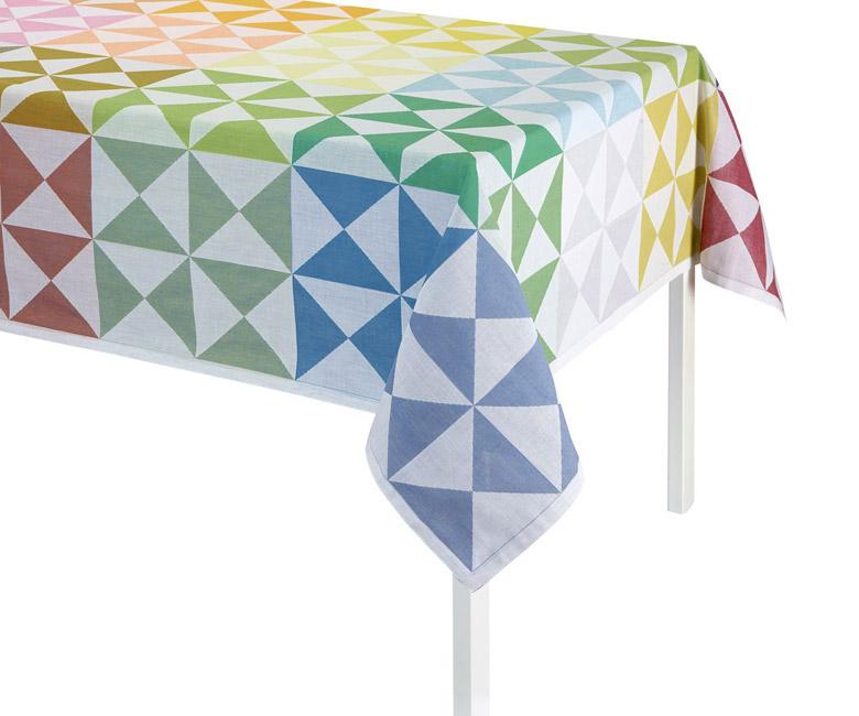 """Хлопковая разноцветная прямоугольная скатерть из длинных волокон """"Origami"""" 140x225 см Le Jacquard Francais (Франция)"""