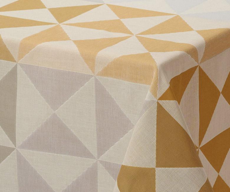 """Хлопковая бежево-синяя прямоугольная скатерть из длинных волокон """"Origami"""" 140x260 см Le Jacquard Francais (Франция)"""