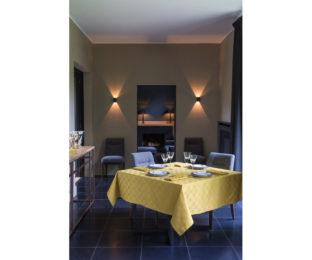 """Хлопковая золотая прямоугольная скатерть из длинных волокон """"Anneaux"""" 170x320 см Le Jacquard Francais (Франция)"""