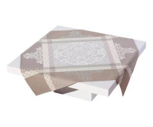 """Хлопковая квадратная скатерть из длинных волокон """"Azulejos"""" 175x175 см, цвет теплый серый Le Jacquard Francais (Франция)"""
