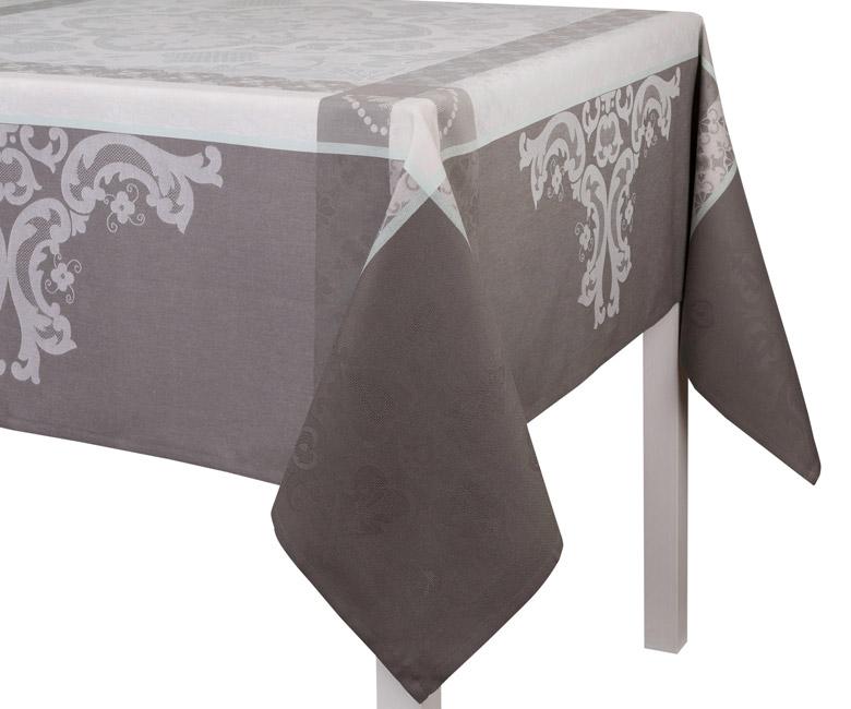 """Хлопковая прямоугольная скатерть из длинных волокон """"Azulejos"""" 220х380 см, цвет теплый серый Le Jacquard Francais (Франция)"""