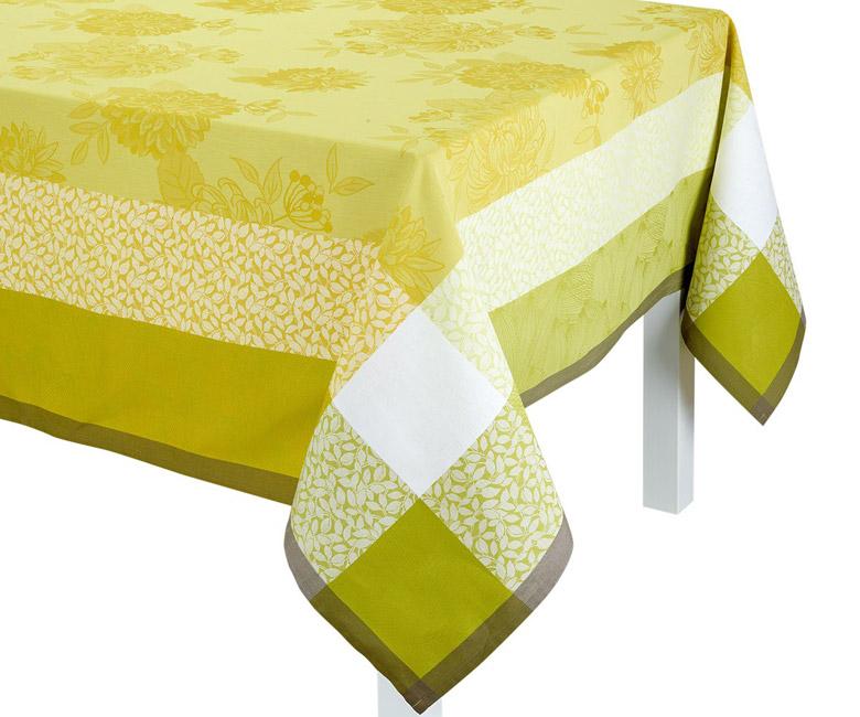 """Хлопковая желтая квадратная скатерть из длинных волокон """"Parfums de bagatelle"""" 175x175 см Le Jacquard Francais (Франция)"""