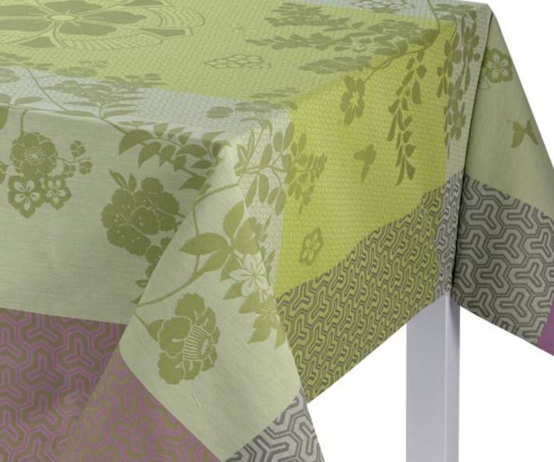 """Хлопковая прямоугольная скатерть из длинных волокон """"Asia Mood"""", цвет миндаль 175x320 см Le Jacquard Francais (Франция)"""