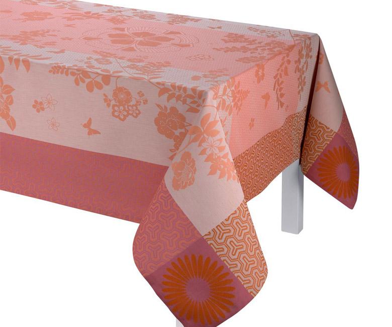 """Хлопковая прямоугольная скатерть из длинных волокон """"Asia Mood"""", цвет чайная роза 150x220 см Le Jacquard Francais (Франция)"""