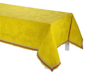 """Хлопковая желтая квадратная скатерть из длинных волокон """"Boh?me"""" 150x150 см Le Jacquard Francais (Франция)"""