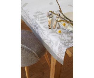 """Хлопковая серая прямоугольная скатерть из длинных волокон """"Herbes folles"""" 175x320 см Le Jacquard Francais (Франция)"""