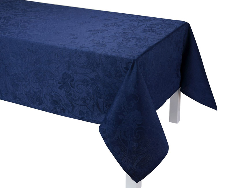 """Льняная синяя прямоугольная скатерть из длинных волокон """"Tivoli"""" 170x250 см Le Jacquard Francais (Франция)"""