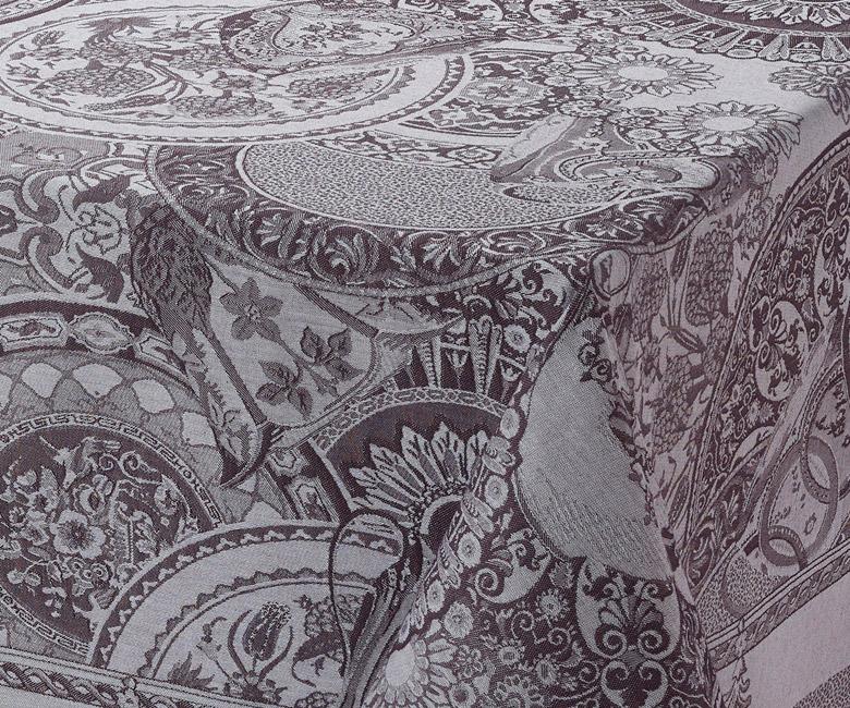 """Хлопковая серая прямоугольная скатерть из длинных волокон """"Porcelaine"""" 175x250 см с водоотталкивающим акриловым покрытием против пятен и грязи Le Jacquard Francais (Франция)"""