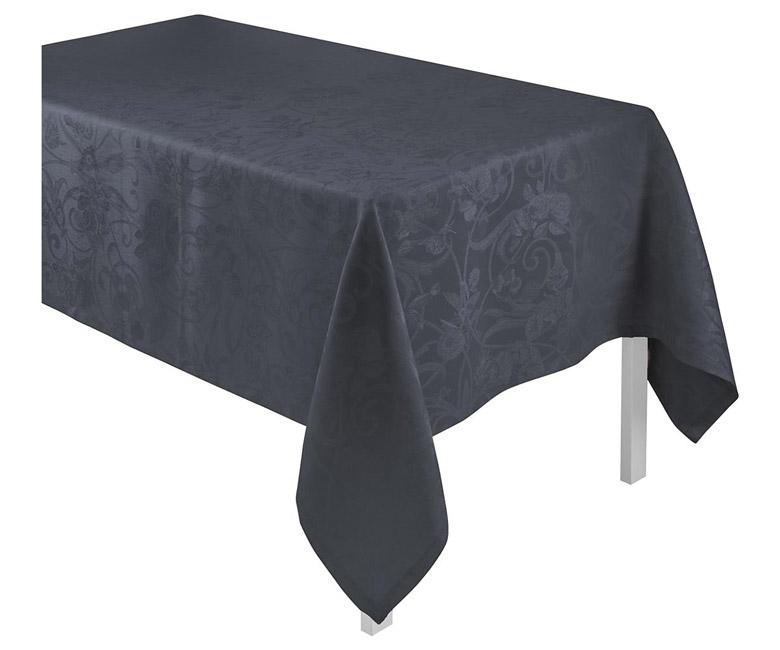 """Льняная черная квадратная скатерть из длинных волокон """"Tivoli"""" 175x175 см Le Jacquard Francais (Франция)"""