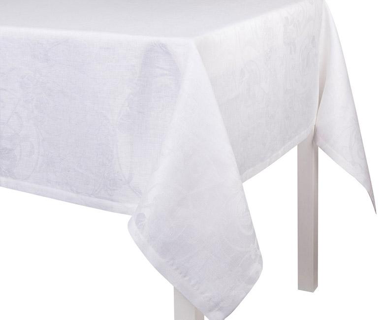 """Льняная белая прямоугольная скатерть из длинных волокон """"Tivoli"""" 170x250 см Le Jacquard Francais (Франция)"""
